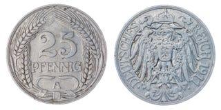 25 Münze des Pfennigs 1911 lokalisiert auf weißem Hintergrund, Deutschland Lizenzfreies Stockfoto