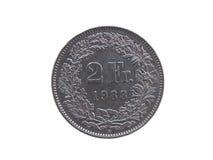 Münze des Schweizer Franken (CHF) Stockbild