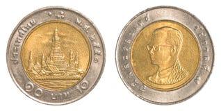 Münze des thailändischen Baht 10 Stockfotografie