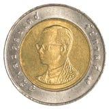 Münze des thailändischen Baht 10 Stockbild