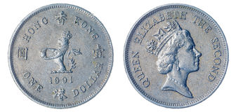 Münze 1 Dollars 1991 lokalisiert auf weißem Hintergrund, Hong Kong Lizenzfreie Stockfotos