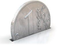 Münze ein Rubel fällt Sparschweinschlitz im Weiß Stockfotos