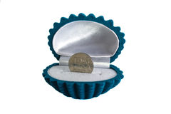 Münze im Muschelkasten Stockfotos