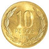 Münze mit 10 chilenischen Pesos Stockbild