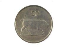 Münze mit 5 irische Pennys Stockfotografie