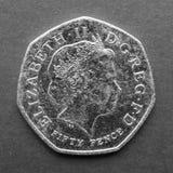 Münze mit 50 Pennys Stockfotos