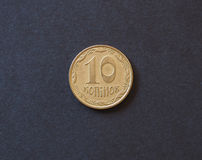 Münze mit 10 ukrainische hryvnia Kopeken Stockfotografie
