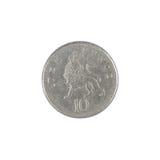 Münze mit zehn Pennys Stockfotos