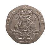 Münze mit Zwanzig Pennys Stockfoto
