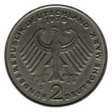 Münze mit zwei deutschen Markierungen Stockbilder