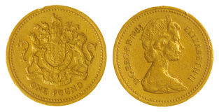 Münze 1 Pfund 1983 lokalisiert auf weißem Hintergrund, Großbritannien Stockbild