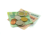 Münze und Banknote Lizenzfreies Stockbild