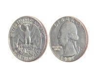 Münze von Amerika-Vierteldollar auf lokalisiertem weißem Hintergrund Lizenzfreies Stockfoto