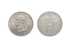 Münze von Amerika-Vierteldollar Maryland auf lokalisiertem weißem Hintergrund Stockfotografie