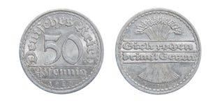 Münze von Deutschland 50 PFENINGS 1920 Lizenzfreies Stockfoto