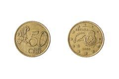Münze von 50 Eurocents Lizenzfreies Stockbild