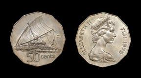 Münze von Fidschi mit Bild der Königin Elizabeth II Lizenzfreies Stockfoto
