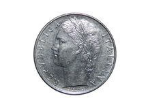 Münze von Italien 100 Lira Stockfotos