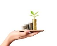 Münze zum Geld, Geschäftsideen in der Hand Lizenzfreie Stockfotos