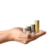Münze zum Geld, Geschäftsideen in der Hand Stockbilder