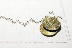 Münzen auf auf lagerdokument Lizenzfreie Stockfotos