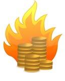 Münzen auf Feuerabbildungauslegung Lizenzfreies Stockfoto