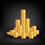 Münzen auf schwarzem Hintergrund Vektor Lizenzfreies Stockfoto