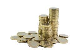Münzen auf weißem Hintergrund Lizenzfreies Stockfoto