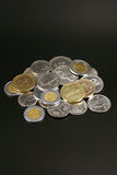 Münzen aus der ganzen Welt Stockfoto