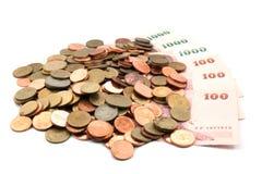 Münzen Bill Stockfotos