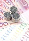 Münzen, chinesische Banknoten und Geschäftsrechnung Lizenzfreies Stockbild