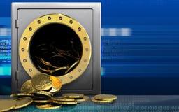 Münzen 3d über Cyber Stockfoto
