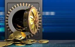 Münzen 3d über Cyber Lizenzfreie Stockfotografie