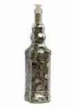 Münzen in den Flaschen Stockfoto