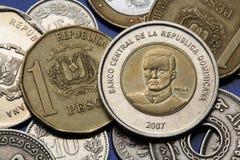 Münzen der Dominikanischen Republik Stockfotos