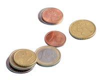 Münzen, der Euro, Geld, Isolat Lizenzfreie Stockbilder