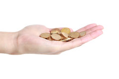 Münzen in der Hand Stockfotografie