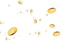 Münzen in der Luft. Stockfotos