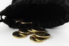 Münzen in der Mappe stockfotografie