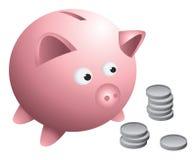 Münzen der Piggy Querneigung Lizenzfreie Stockbilder