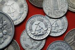 Münzen der Republik u. des x28; Ostdeutschland u. x29; Stockfoto