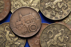 Münzen der Tschechischen Republik Lizenzfreie Stockfotos