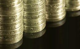 Münzen des britischen Pounds Lizenzfreies Stockfoto