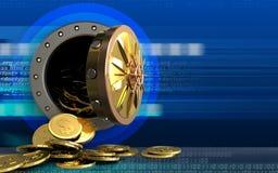 Münzen des Dollars 3d über Cyber Lizenzfreie Stockfotos