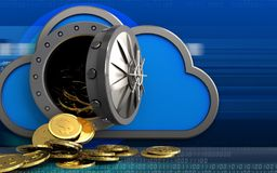 Münzen des Dollars 3d über Cyber Stockbild
