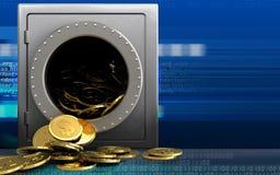 Münzen des Dollars 3d über Cyber Lizenzfreies Stockfoto