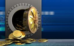 Münzen des Dollars 3d über Cyber Lizenzfreie Stockfotografie