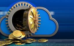 Münzen des Dollars 3d über Cyber Lizenzfreies Stockbild
