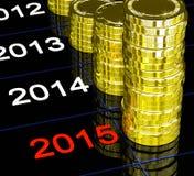 Münzen, die 2015 Finanzvisionen zeigen Stockfotografie