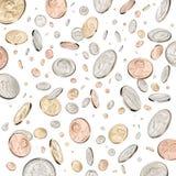 Münzen, die unten fallen oder regnen stockbild
